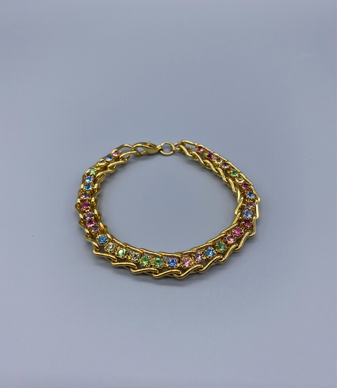 Gold Chain Bracelet With Multi-Color Stones