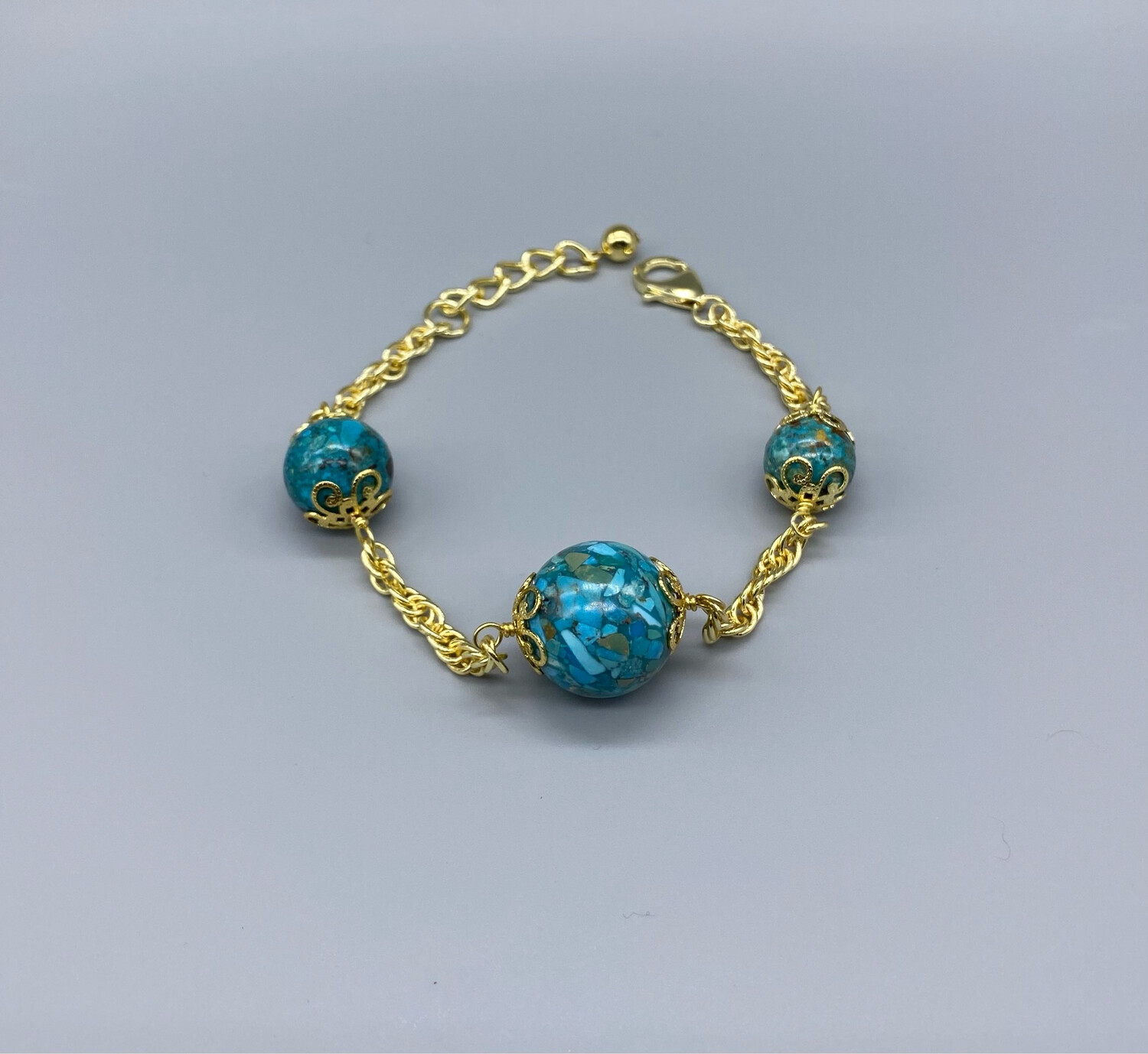 Gold Chain Bracelet With Faux Turquoise Stones