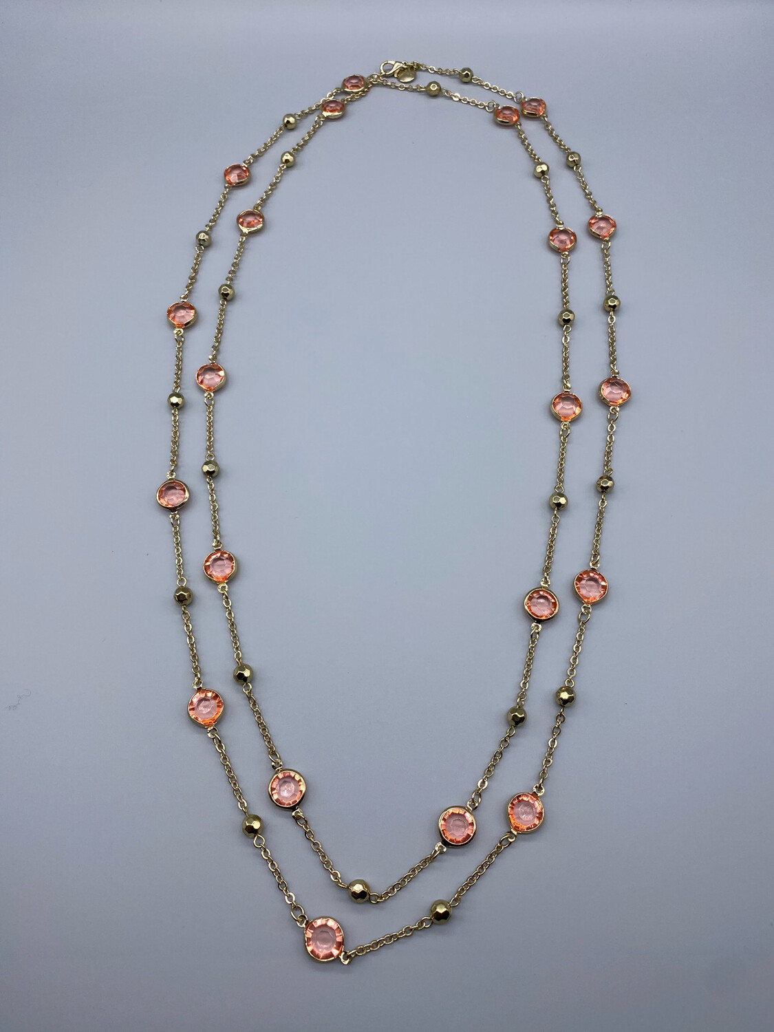 Extra Long Pink Gemstone Strand Necklace