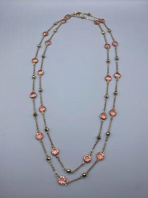 Extra Long Pink Gemstone Strand Necklace