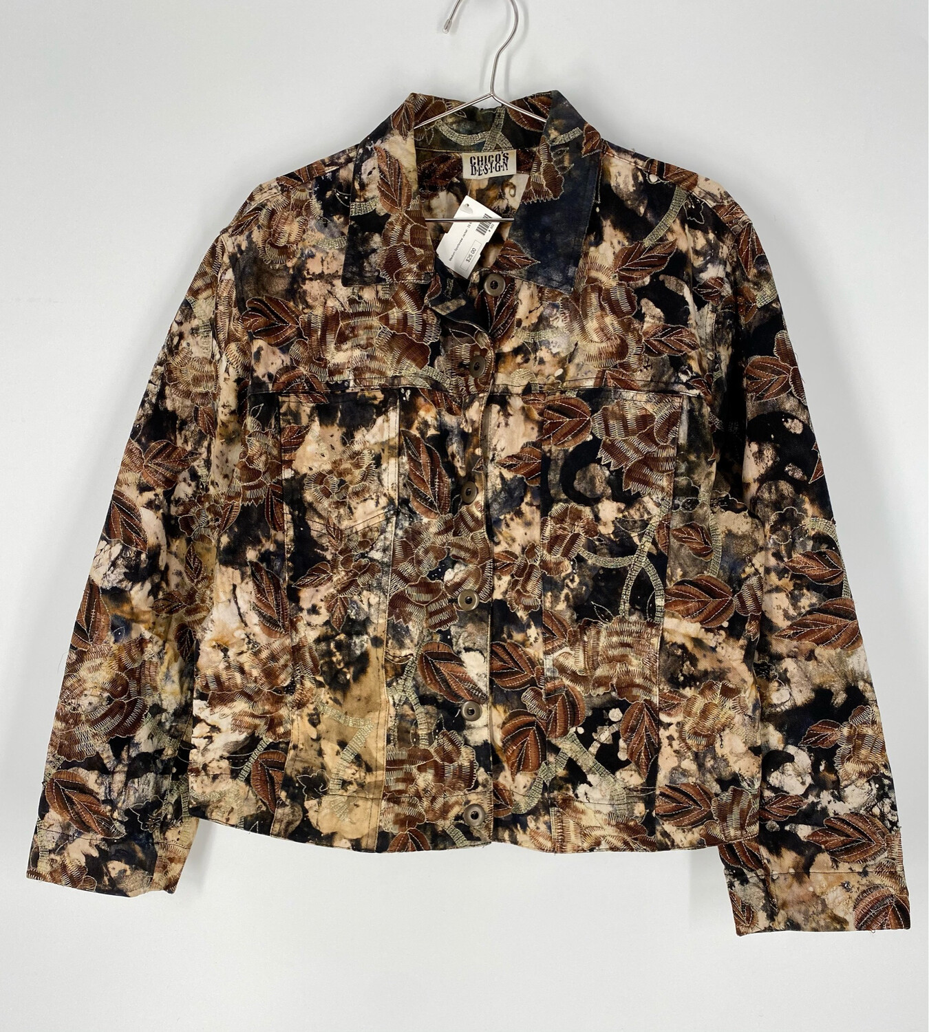 Chico's Design Brown And Black Tie-dye Embroidered Jacket Size M