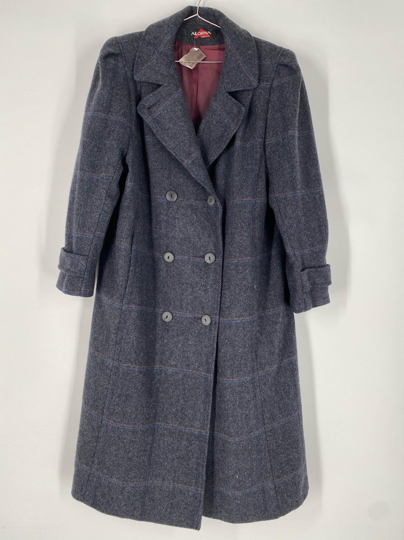 Alorna Grey Plaid Long Wool Coat Size M