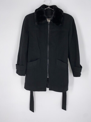 Jones New York Black Wool Coat Faux Fur Collar Size M