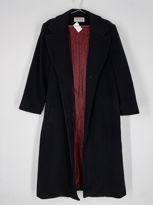 Forecaster Black Long Coat With Red Paisley Lining Size M