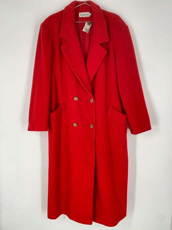 Hermak Kay Long Red Coat Size L