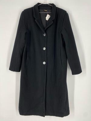 Long Black Wool Coat Size M