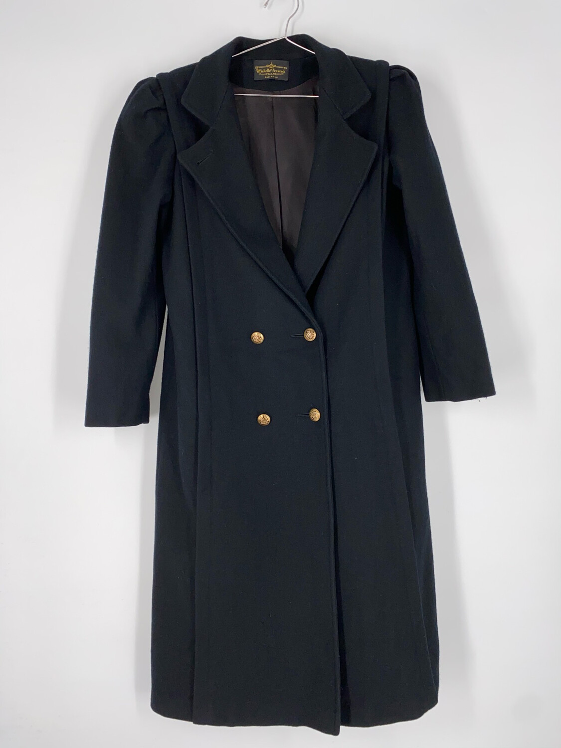 Michelle Francois Black Long Wool Coat With Gold Buttons Size M