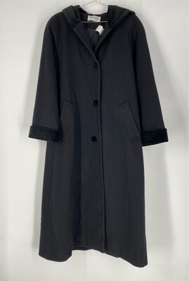 Forecaster Black Wool And Velvet Hooded Long Coat Size M