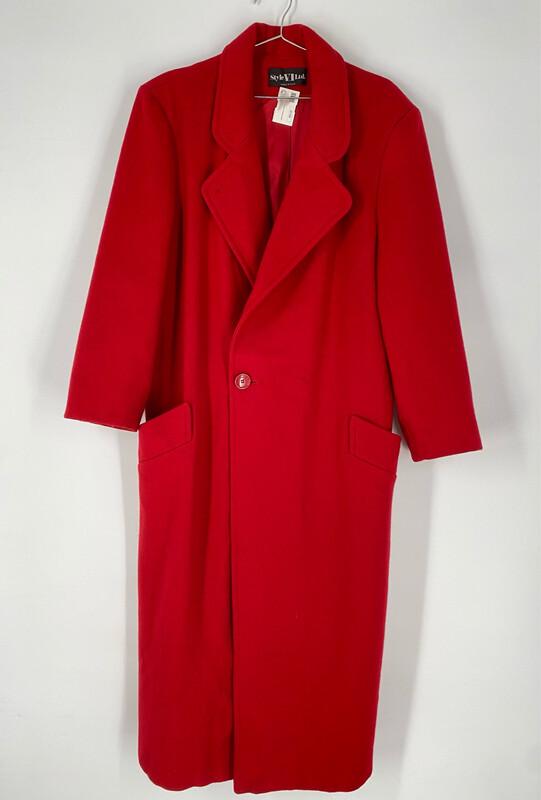 Style VI Ltd. Long Red Wool Coat Size L