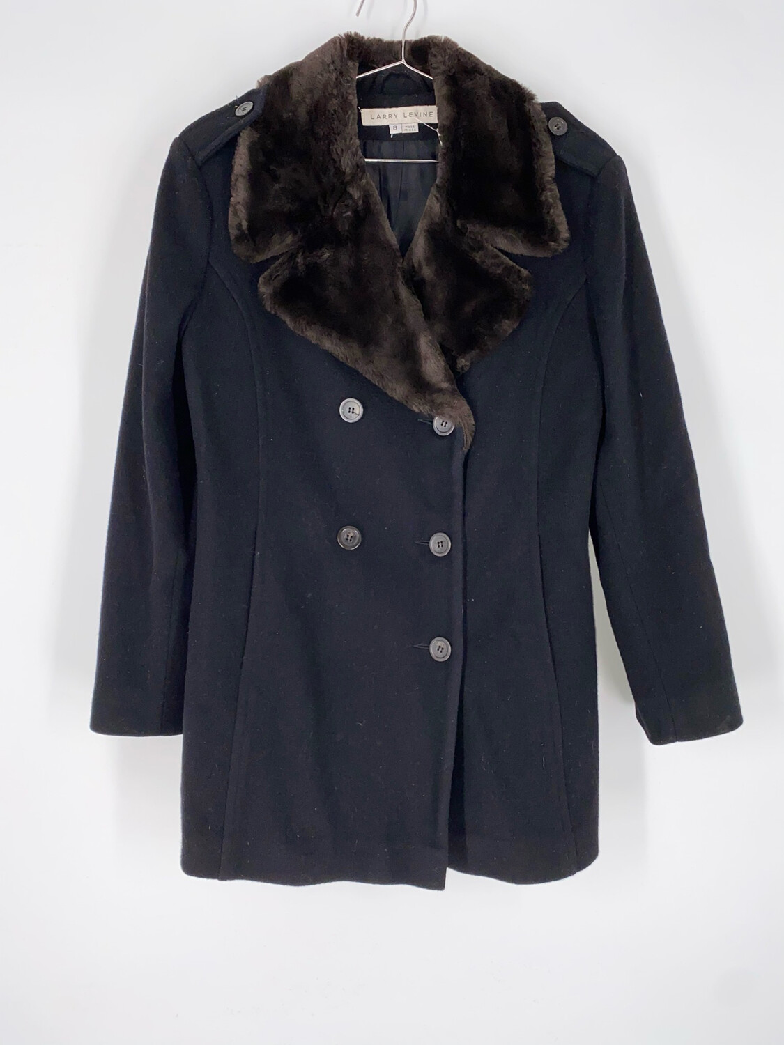 Larry Levine Wool Coat With Brown Faux Fur Collar Size M