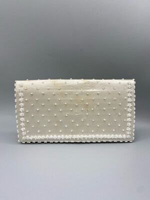 White Beaded Clutch