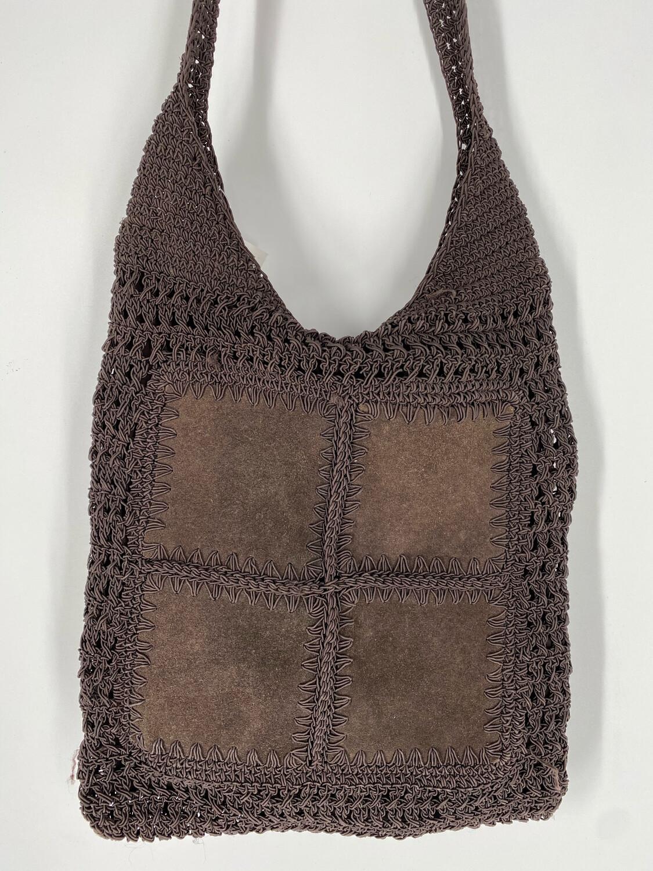 Brown Crochet Crossbody Bag