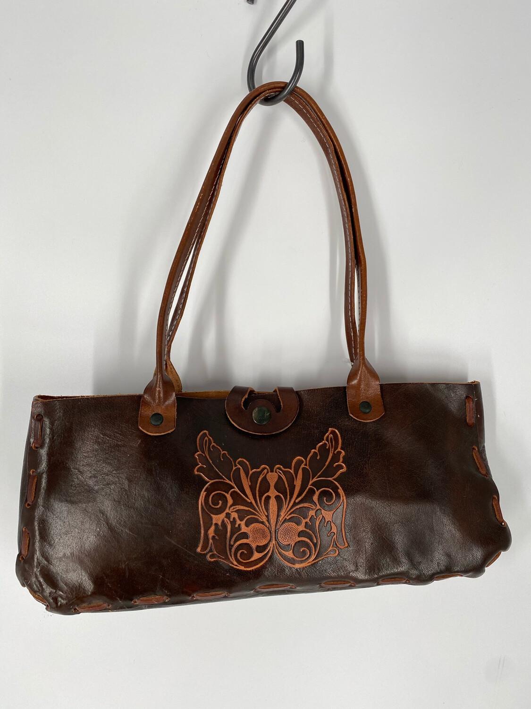 Leather Embossed Butterfly Shoulder Bag