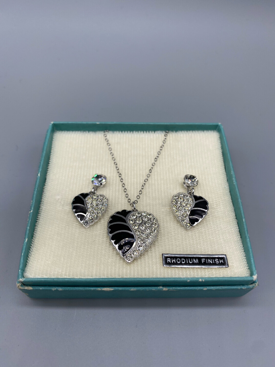 Silver and Black Heart Necklace & Earrings