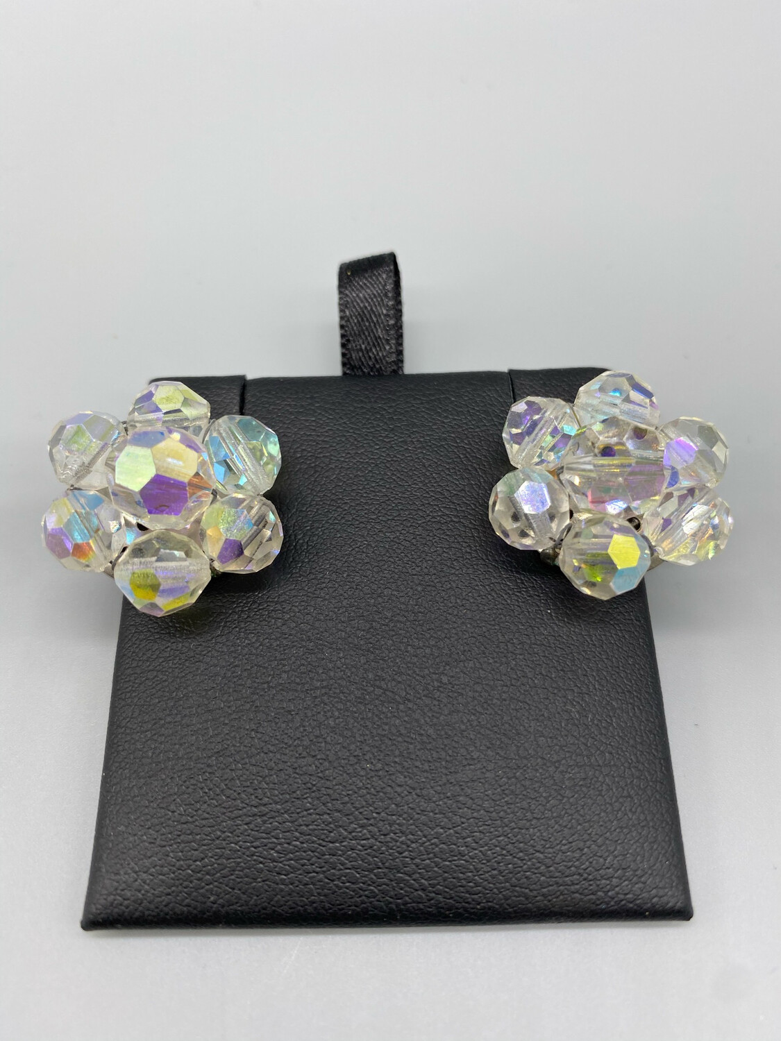 Iridescent Flower Clip-On Earrings