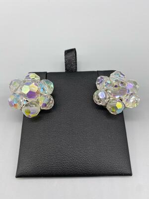 Iridescent Flower Clip-On Earrings