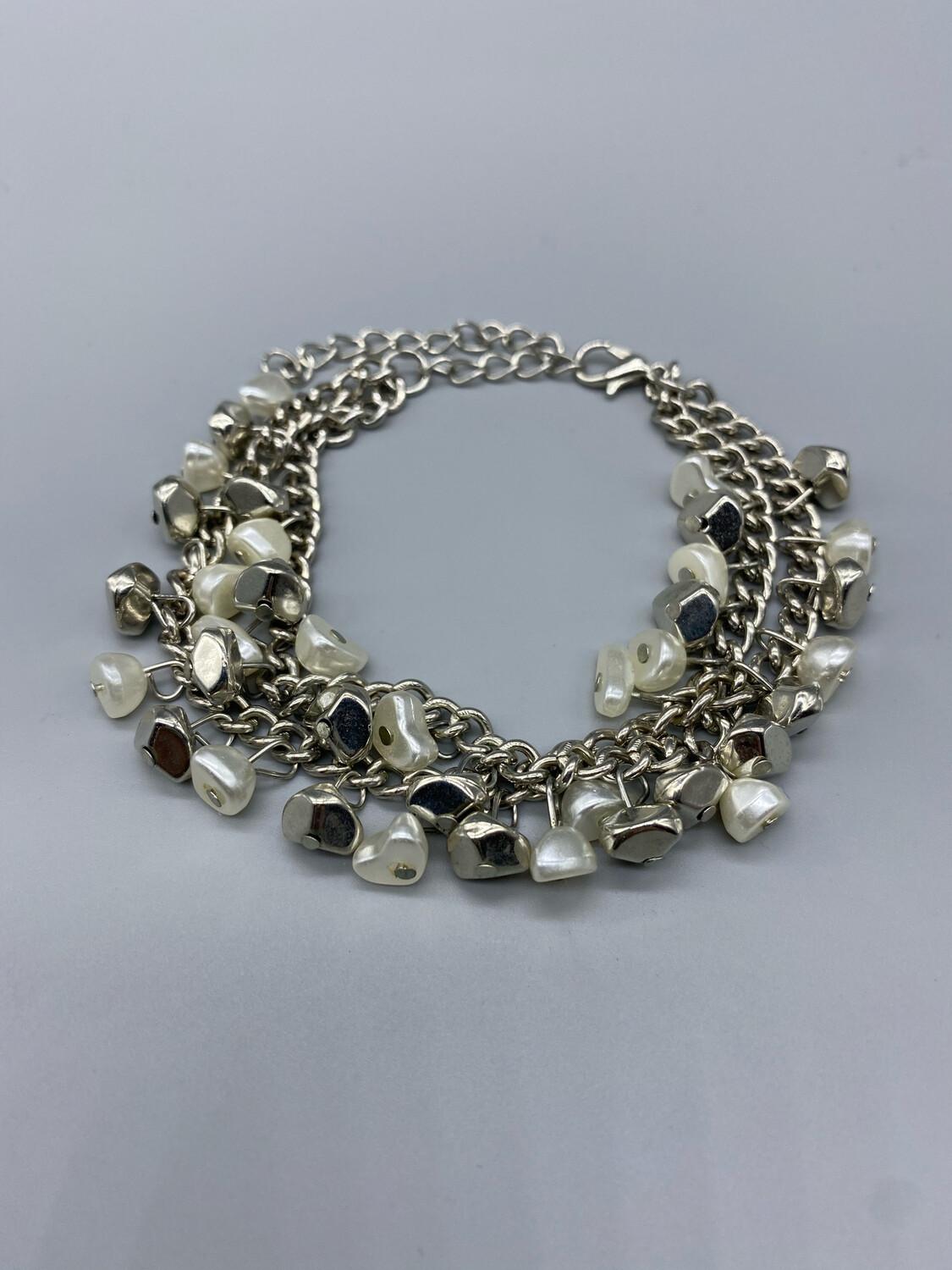 Silver And Pearl Chain Adjustable Bracelet