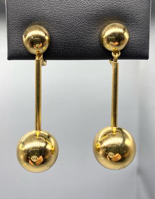 Gold Clip-On Drop Earrings