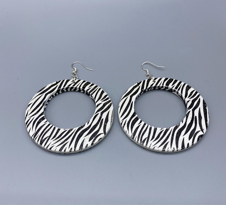 Zebra Print Hoop Earrings