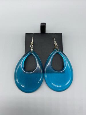 Blue Resin Hoop Earring