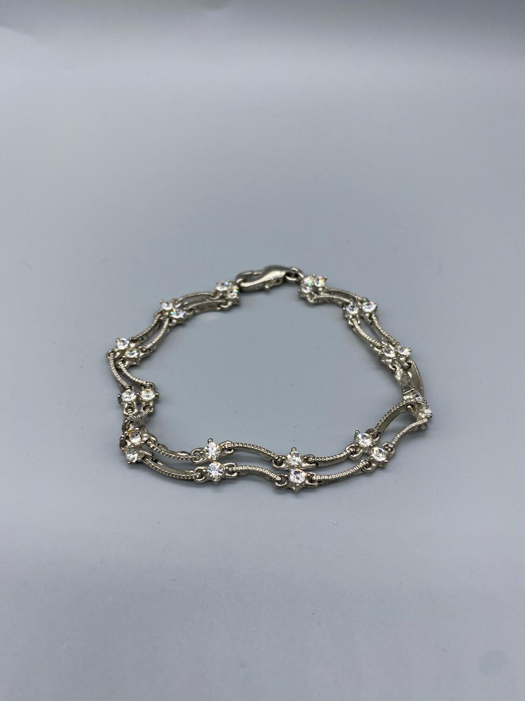 Silver Link Bracelet With White Gemstones