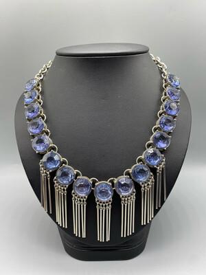 Silver Blue Gemstone Statement Necklace