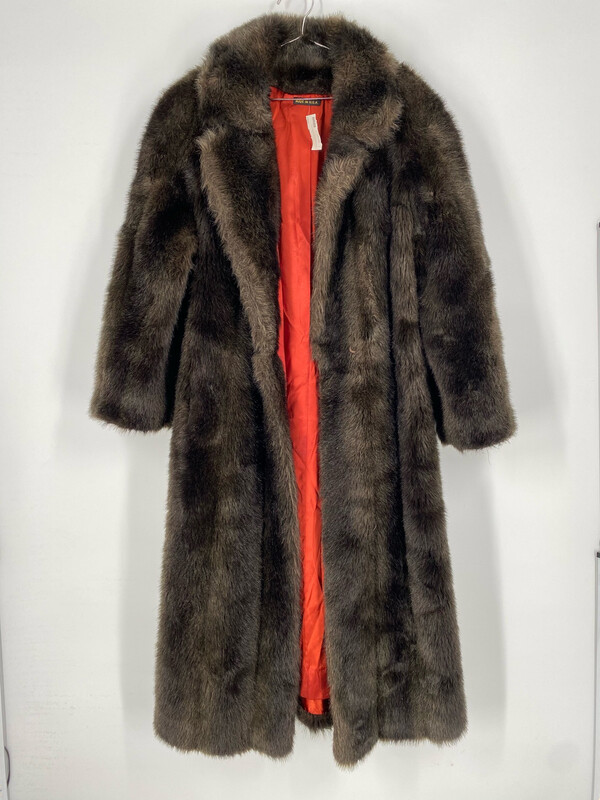 Long Faux Fur Coat With Orange Lining Size S