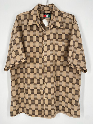 D'Accord Beige Checkered Print Short Sleeve Button Up Size M