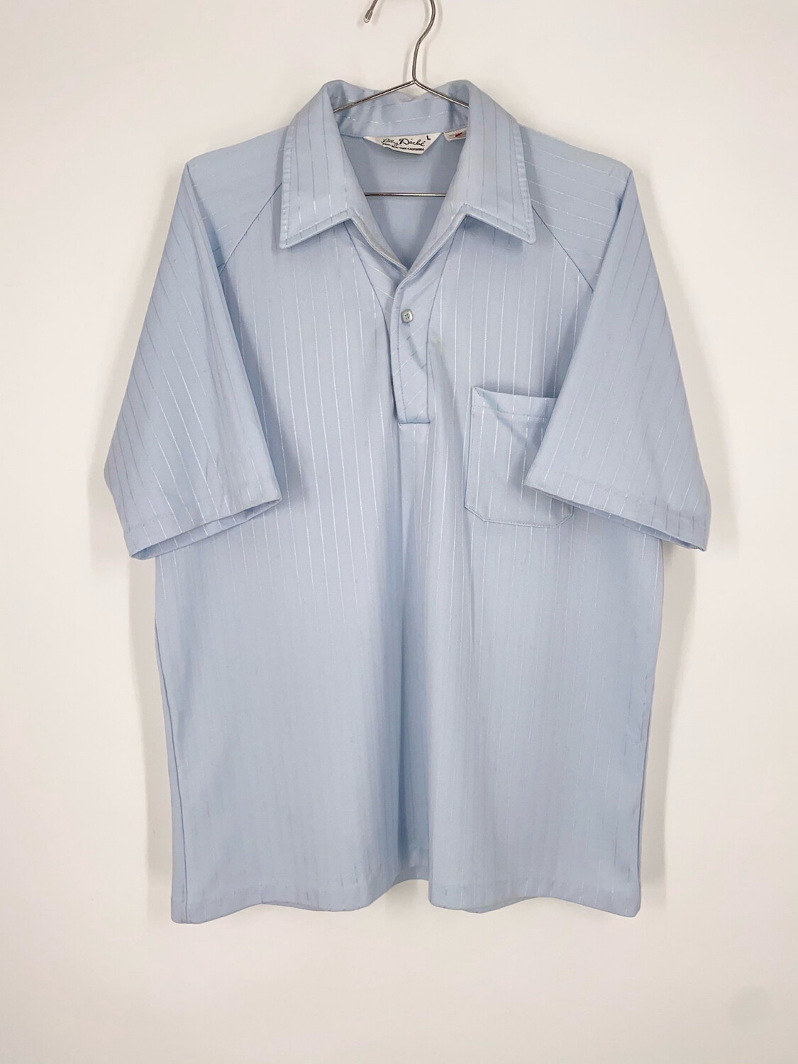 Lilly Daché Pinstriped Blue Short Sleeve Button Up Size L