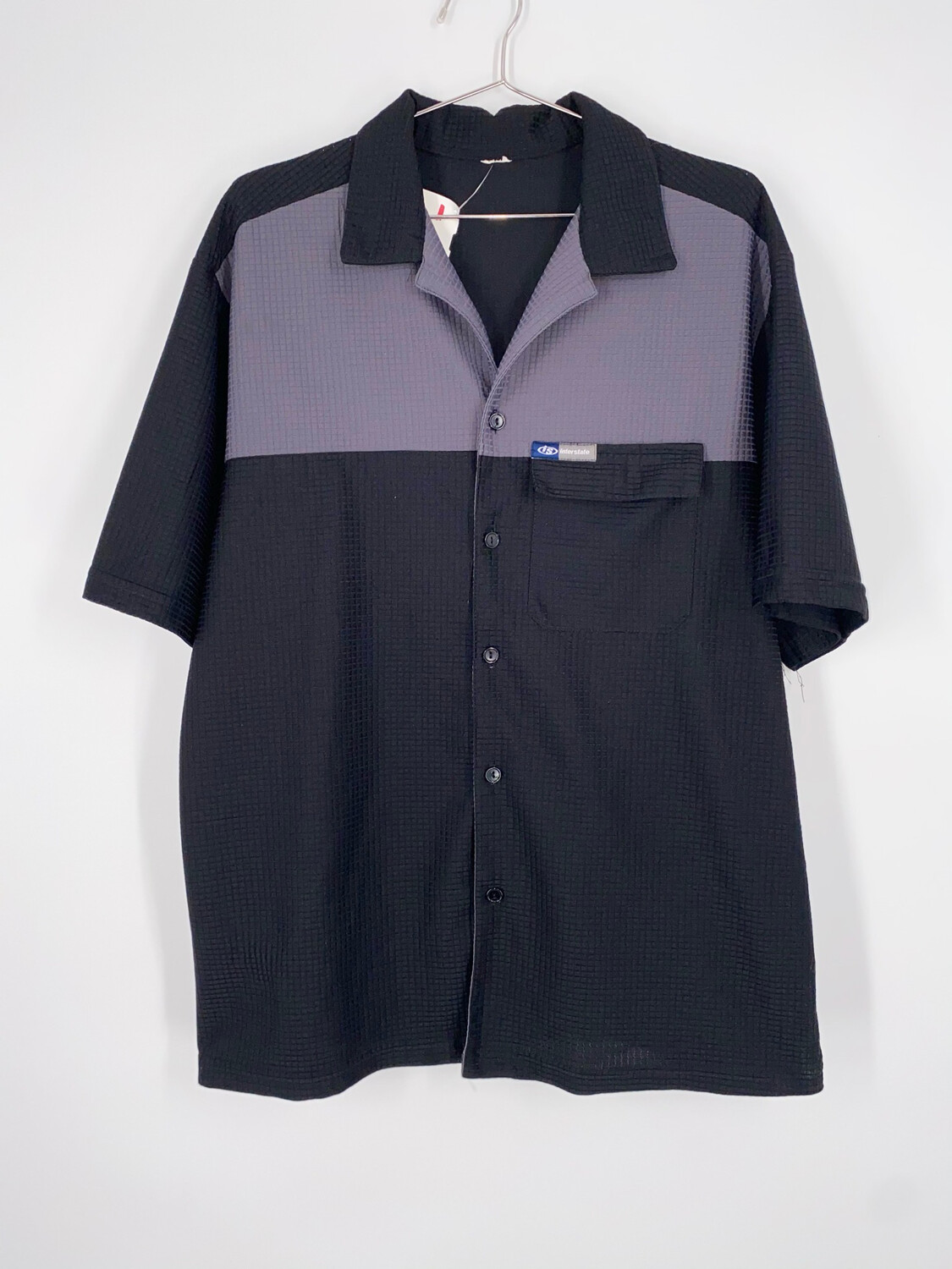 Interstate Black And Grey Color Block Shirt Sleeve Button Up Size L