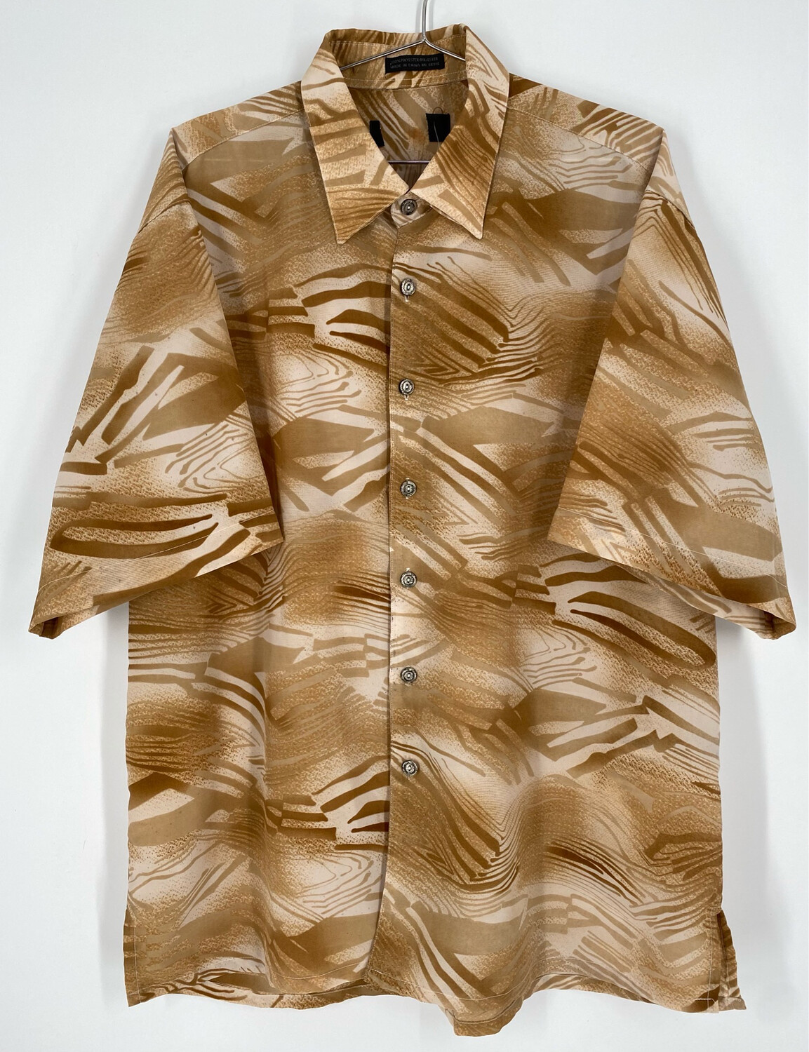 Sandy Retro Abstract Animal Print Short Sleeve Button Up Size M