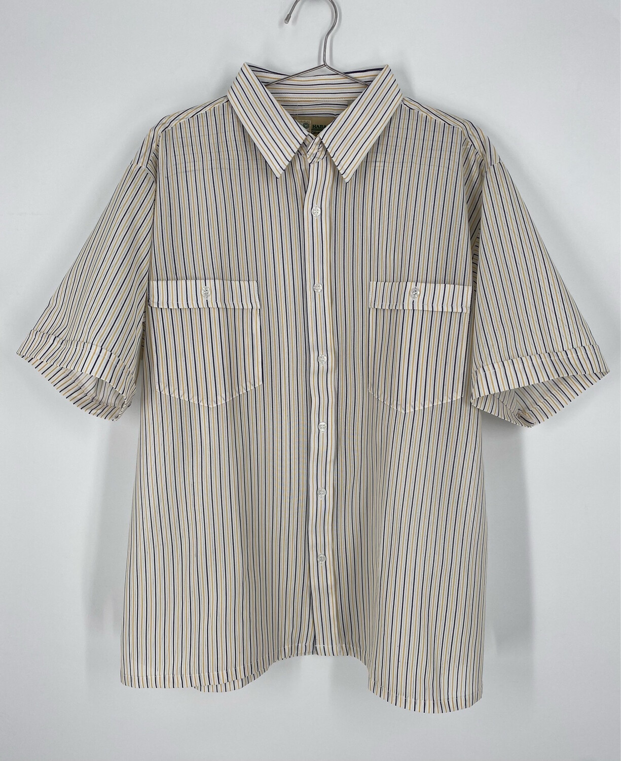 Haband Multicolor Pinstripe Short Sleeve Button  Up Size L