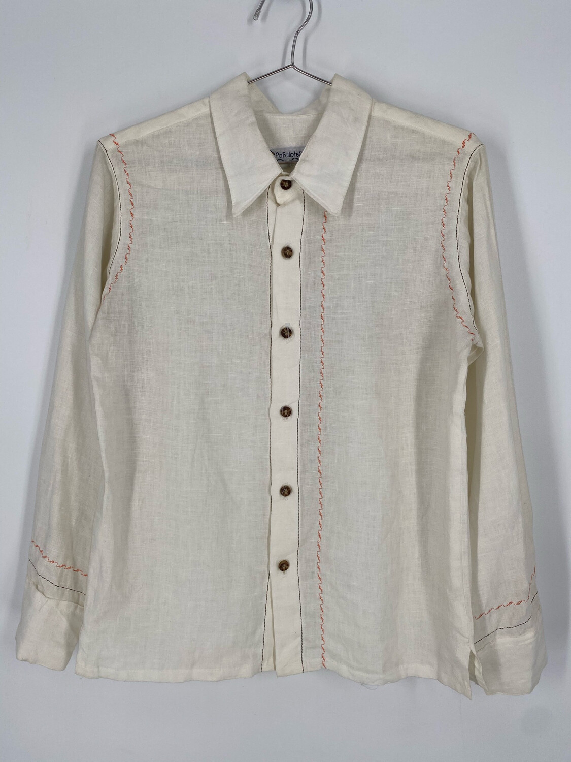 Papalotes White Western Embroidered Button Up Size S