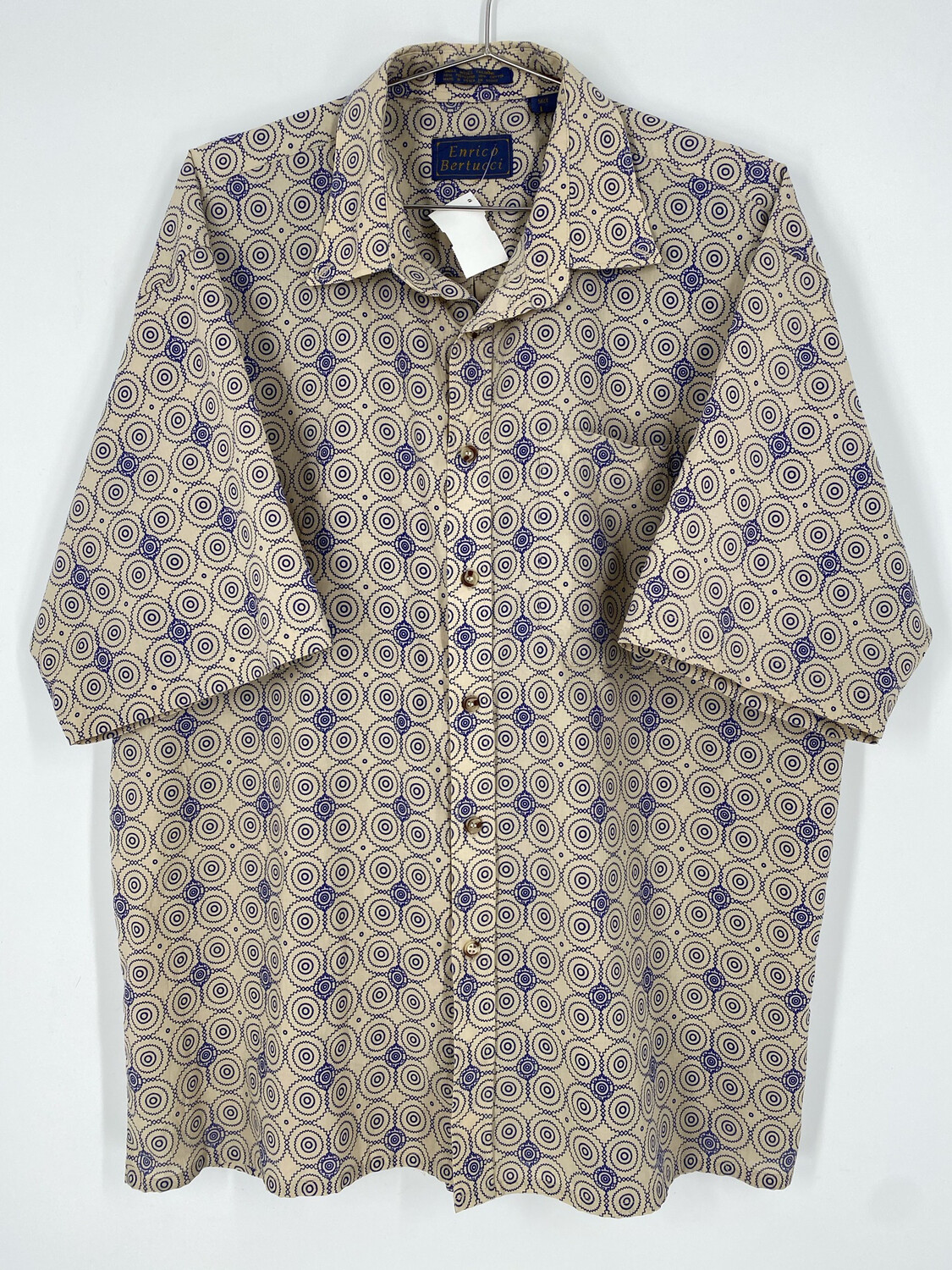 Enrico Bertucci Abstract Retro Short Sleeve Button Up Size L