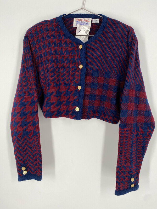 Reworked Houndstooth Cropped Cardigan Size M/L