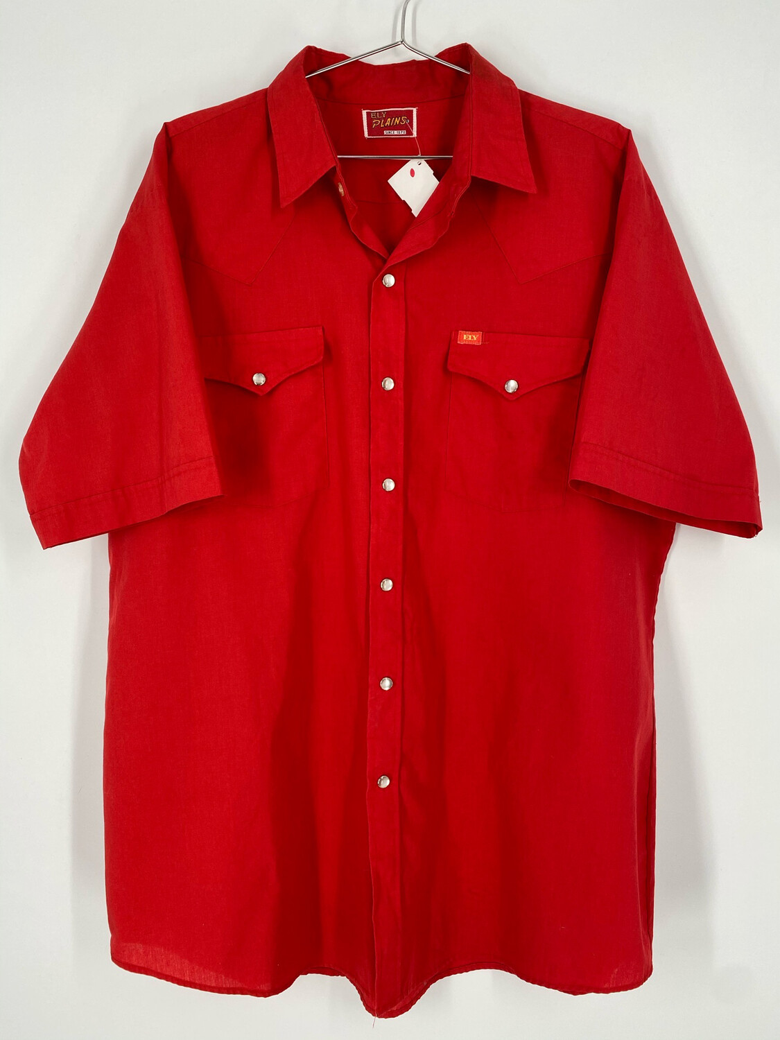 ELY Plains Red Western Short Sleeve Size L