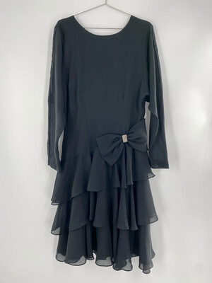 Samantha Black Long Sleeve Ruffle Dress Size M