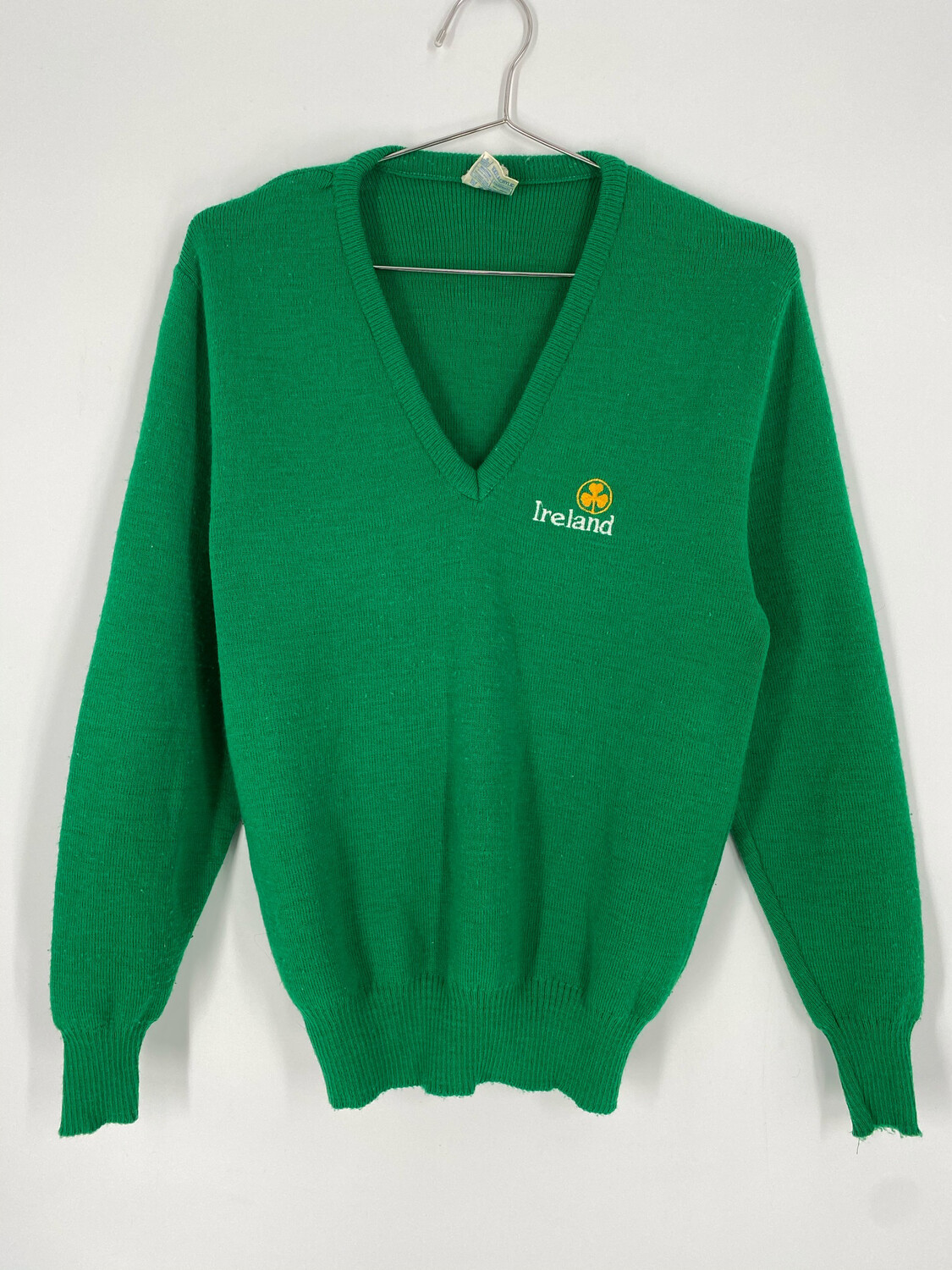 Vintage Ireland V-Neck Green Sweater Size S