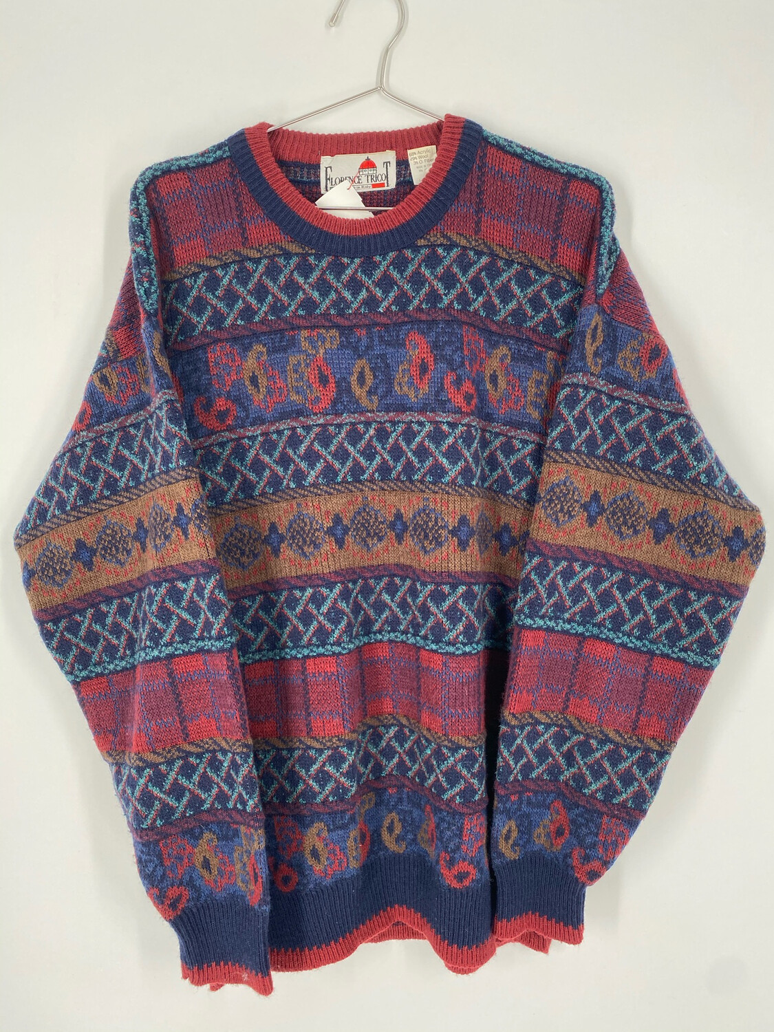 Florence Tricot Printed Vintage Sweater Size L