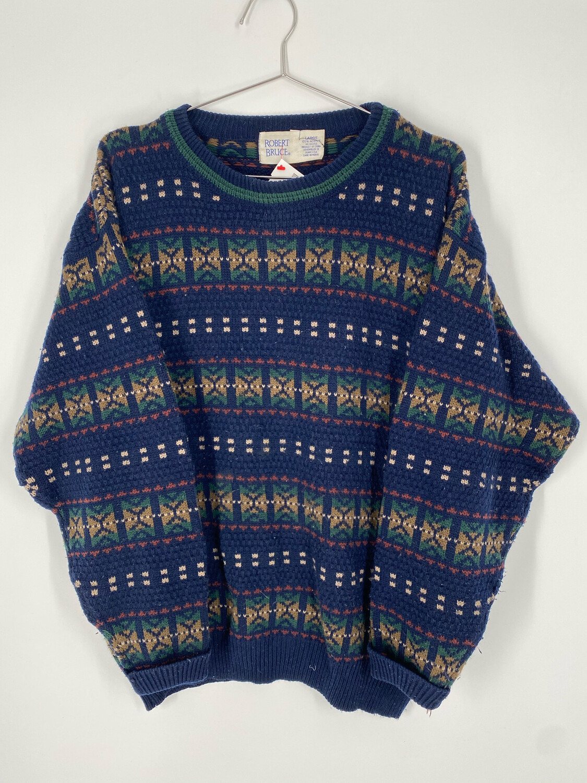 Robert Bruce Printed Crewneck Sweater Size L