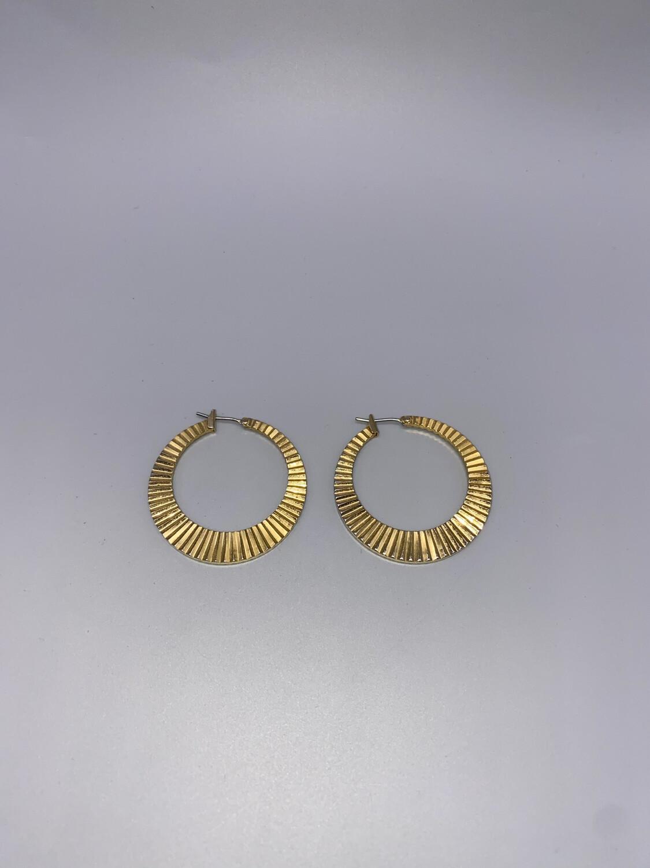 Embossed Gold Medium Hoop Earring