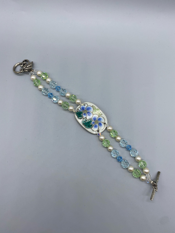 Vintage Blue And Green Floral Painted Bracelet