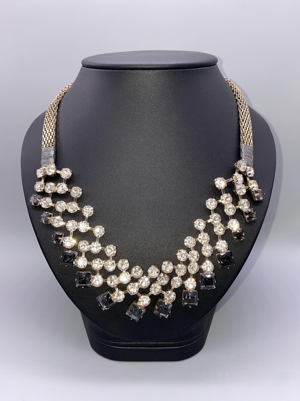 Silver White And Black Rhinestone Statement Necklace