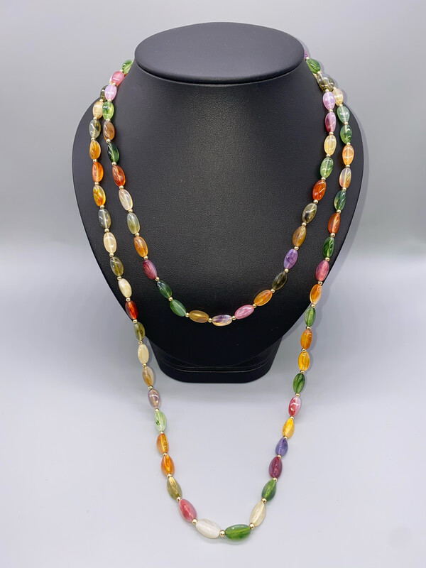 Multi-Color Long Beaded Necklace