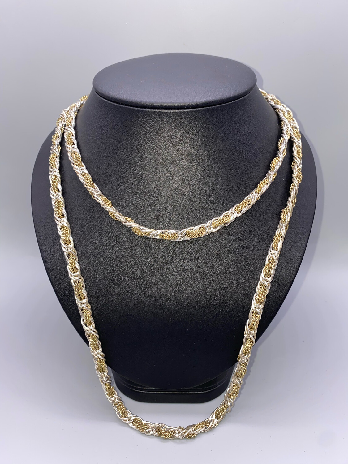 Silver And Gold Thick Long Chain Necklace