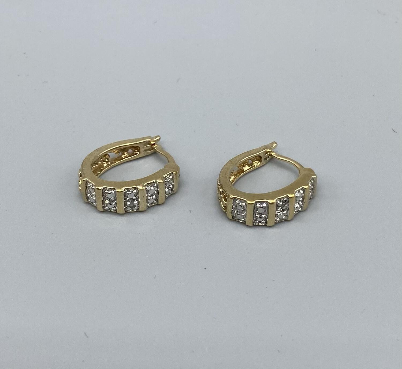 Mini Gold Huggie Hoop Earrings With Silver Embellishment