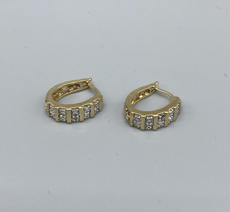 Mini Gold Huggie Hoop Earrings With Silver Embellishment