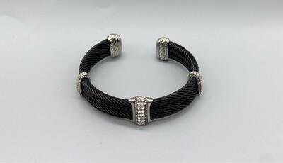 Black Bangle With Silver/Rhinestone Embellishments
