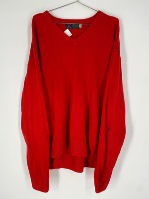 Tina Scotland Vintage V-Neck Bright Red Sweater Size XL