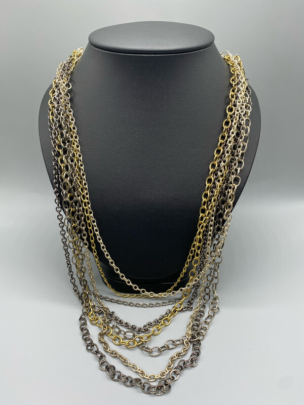 Gold And Silver Multiple Chain Necklace